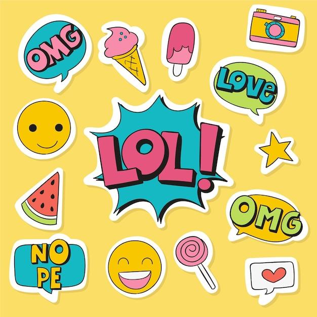 Emoji I Naklejki Z Mediów Społecznościowych Darmowych Wektorów