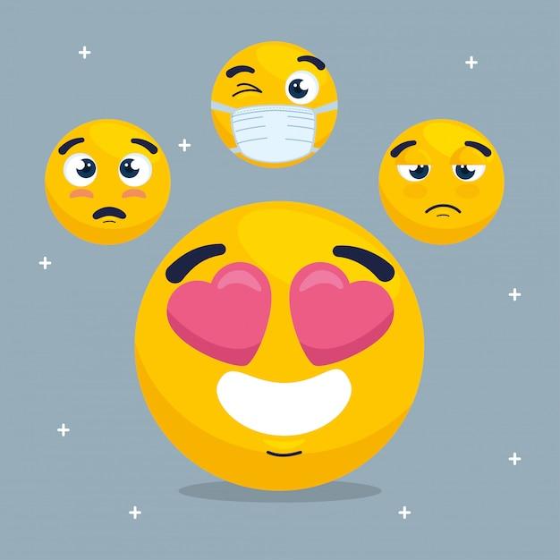 Emoji śliczny Z Zestawem Emoji, Zestaw żółtych Twarzy Premium Wektorów