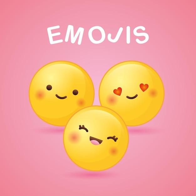 Emoji Z Różnymi Uczuciami Na Różowym Tle. Ilustracja Premium Wektorów