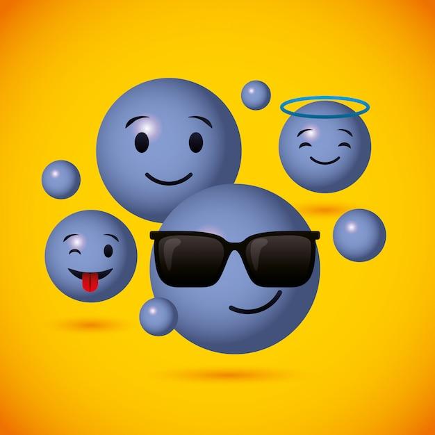 Emojis błękitny round stawia czoło tło Premium Wektorów
