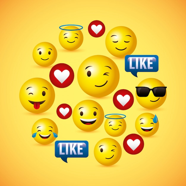 Emojis żółty okrągły twarz tło Premium Wektorów
