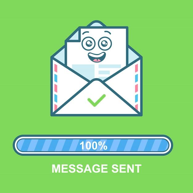 Emotikon koperty. płaski ilustracja e-mail charakter projektu z paskiem postępu. proces wysyłania wiadomości e-mail. wysłano wiadomość tekstową. Premium Wektorów