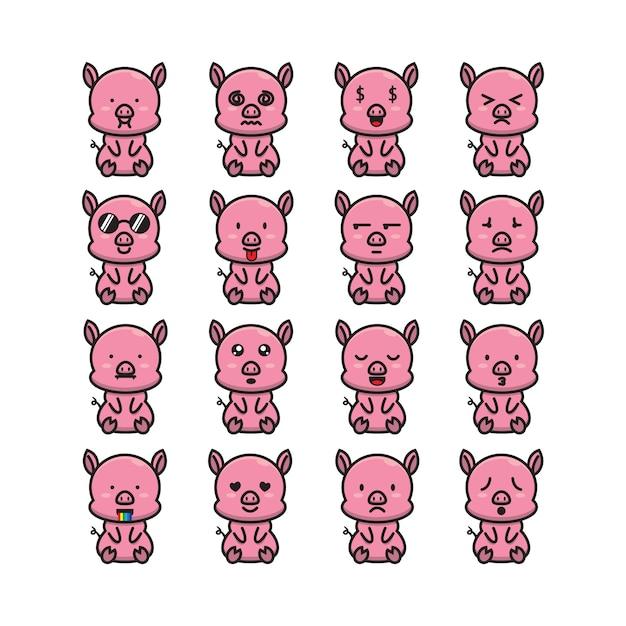 Emotikon ładny świnia Premium Wektorów