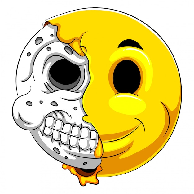 Emotikon pół czaszki z białym tłem Premium Wektorów