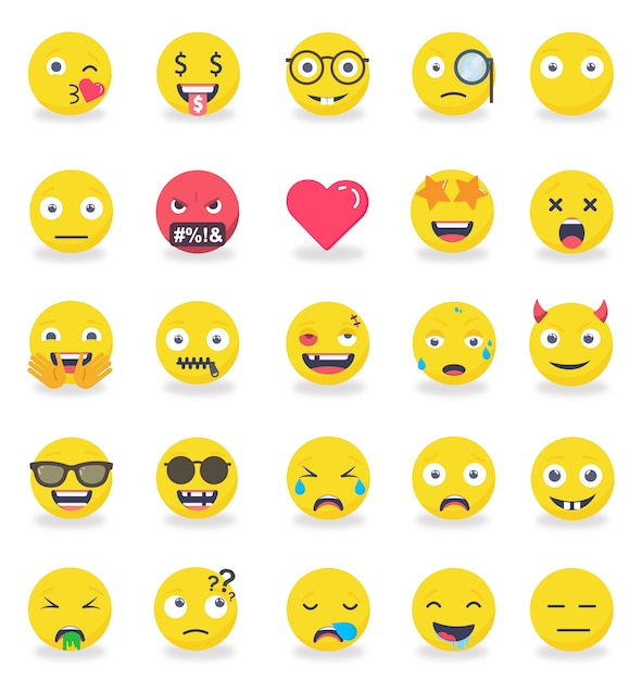 Emotikony emotikonów kolorowe zestaw ikon płaski Premium Wektorów