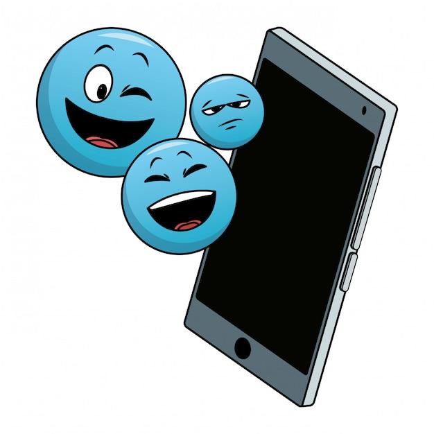Emotikony na smartphone Premium Wektorów