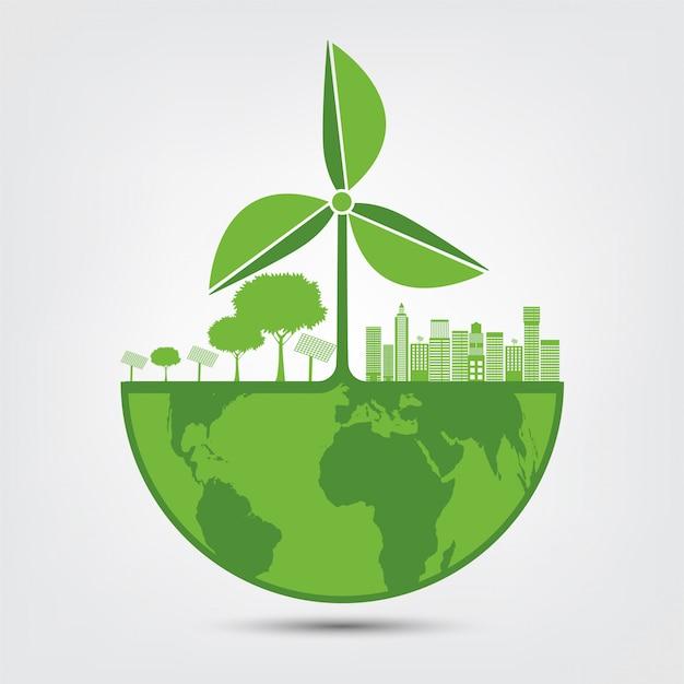 Energia odnawialna na świecie Premium Wektorów
