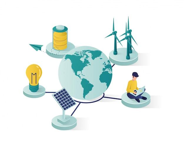 Energia odnawialna używa panel słoneczny, aby uratować światową izometryczną ilustrację Premium Wektorów