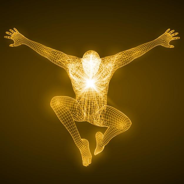 Energia Postaci Swobodnie Spadającego Człowieka. Premium Wektorów