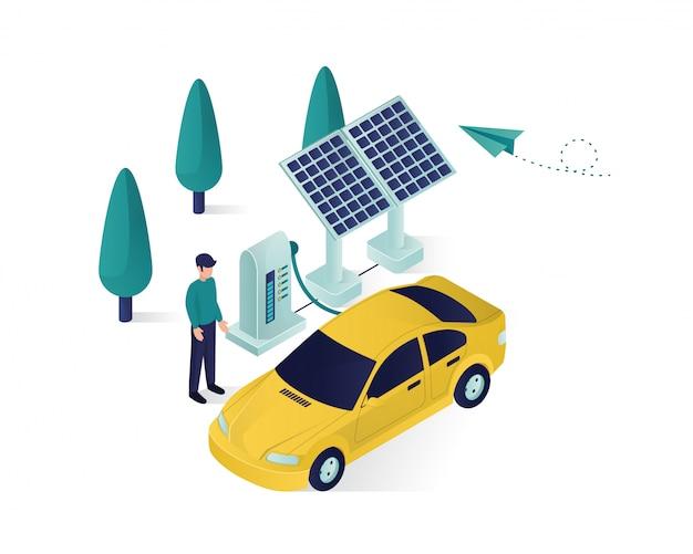 Energia słoneczna ładuje izometryczną ilustrację samochodowej władzy Premium Wektorów