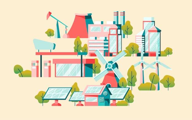 Energooszczędny wektor koncepcja na żółto Darmowych Wektorów