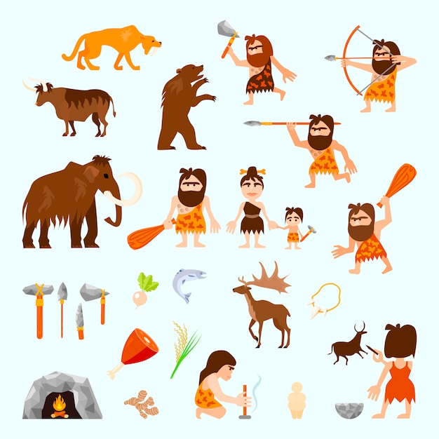 Epoka kamienia płaska płaskie ikony ustawiać z caveman zwierząt narzędziami Darmowych Wektorów