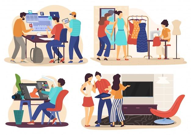 Ers At Work, Ludzie Postaci Z Kreskówek, Twórca Stron Internetowych, Grafika, Moda I Projektowanie Wnętrz, Ilustracja Premium Wektorów