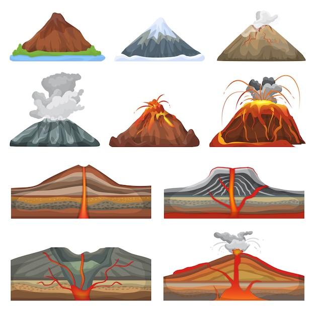Erupcja Wulkanu I Wulkanizm Lub Konwulsja Eksplozji Natury Wulkanicznej Premium Wektorów