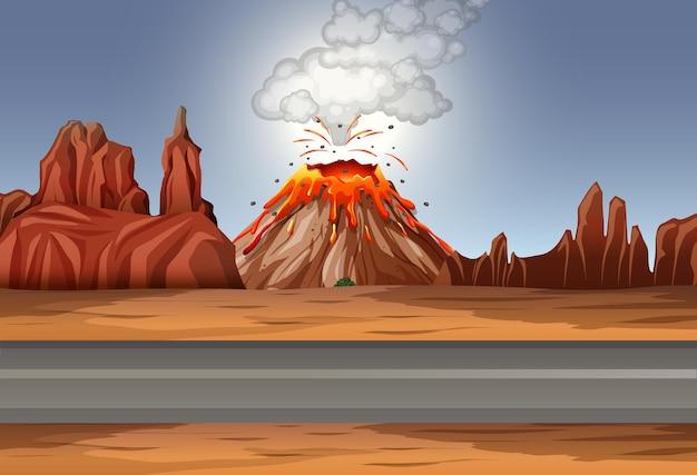 Erupcja Wulkanu Na Pustyni W Ciągu Dnia Darmowych Wektorów