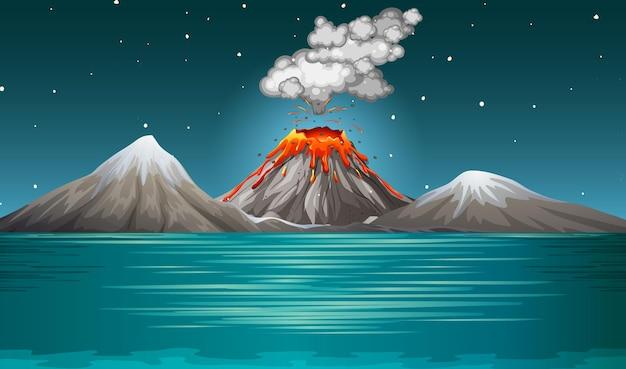 Erupcja Wulkanu Na Scenie Przyrody W Nocy Darmowych Wektorów