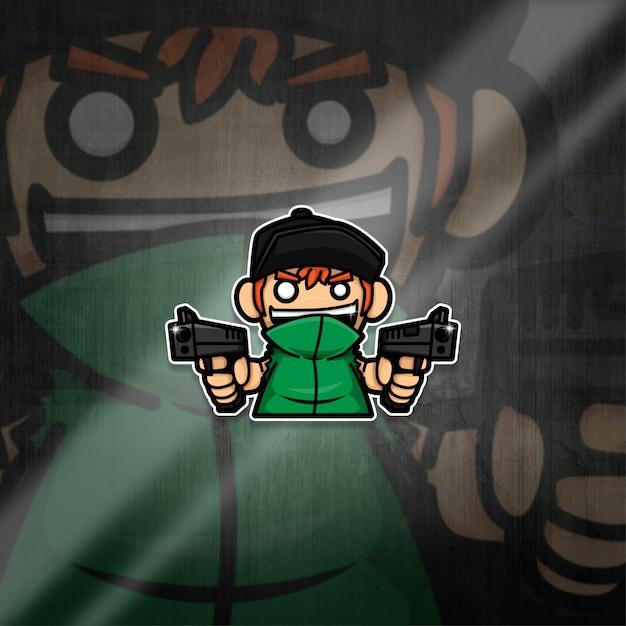 Esports Mascot Logo Team Boy Squad Premium Wektorów
