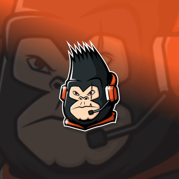 Esports Mascot Logo Team Leader Kong Squad Premium Wektorów