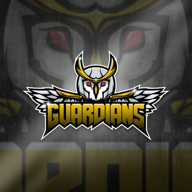 Esports Mascot Logo Team Owl Guardians Squad Premium Wektorów