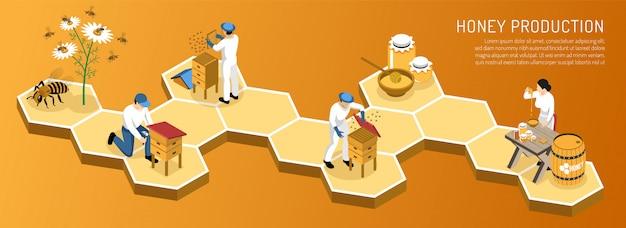 Etapy Produkcji Miodu Od Zbioru Nektaru Do Pakowania Produktu Na Gradientowym Poziomie Izometrycznym Darmowych Wektorów
