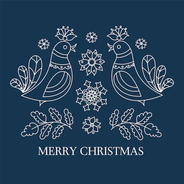 Ethno boże narodzenia nowego roku dekoracyjna ludowa wektorowa ilustracja Premium Wektorów