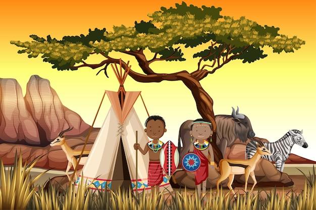 Etniczne Ludy Afrykańskich Plemion W Tradycyjnej Odzieży Na Tle Przyrody Darmowych Wektorów