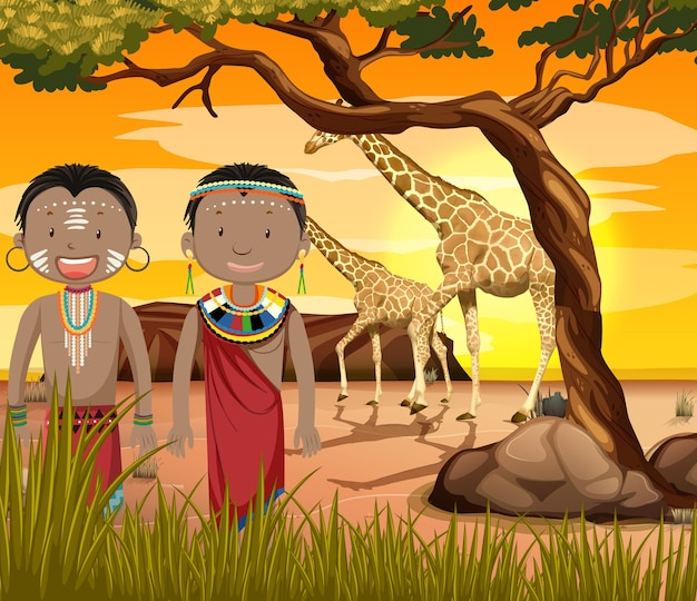 Etniczne Ludy Afrykańskich Plemion W Tradycyjnej Odzieży Na Tle Przyrody Premium Wektorów
