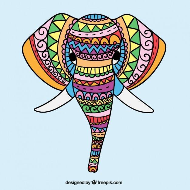 Etniczne ręcznie rysowane kolorowe słonia Darmowych Wektorów