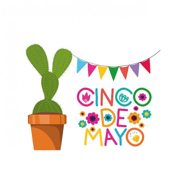 Etykieta cinco de mayo z ikoną kaktusa Premium Wektorów