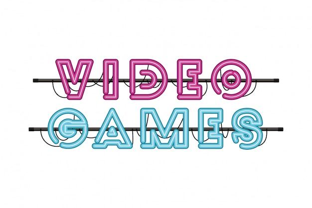 Etykieta gier wideo w ikonie neonu Premium Wektorów