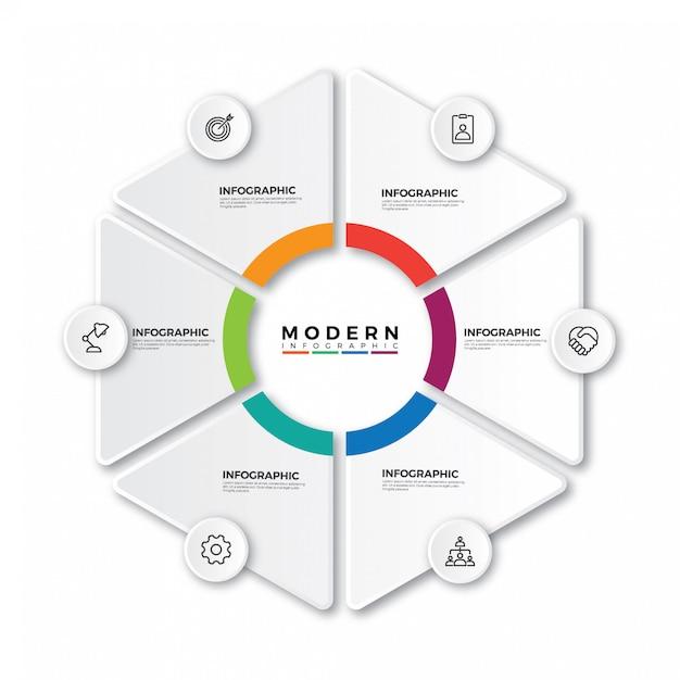 Etykieta infographic z ikonami i 6 opcjami lub krokami Premium Wektorów
