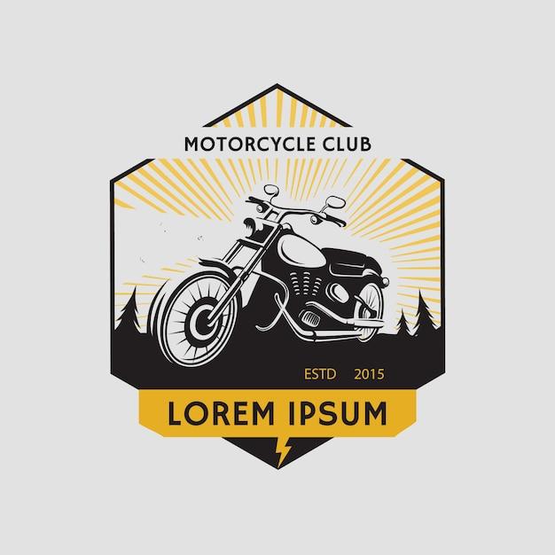 Etykieta Klubu Motocyklowego. Symbol Motocykla. Ikona Motocykla. Ilustracja Premium Wektorów