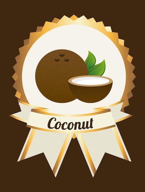 Etykieta kokosowa na brązowo Darmowych Wektorów
