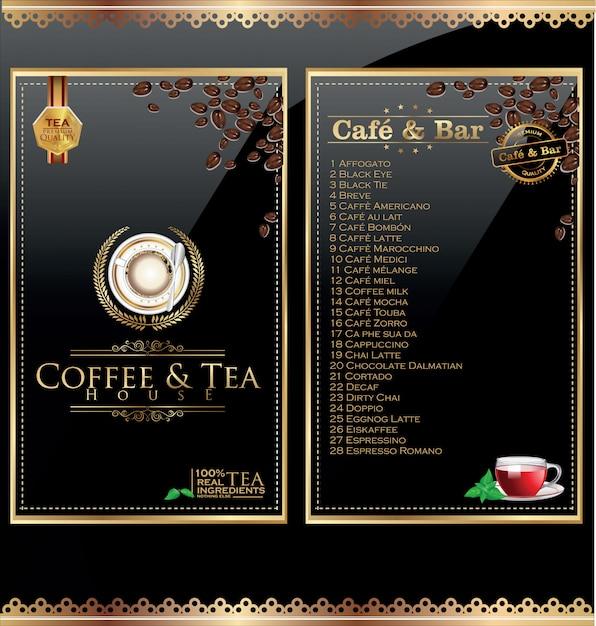 Etykieta menu kawiarni Premium Wektorów