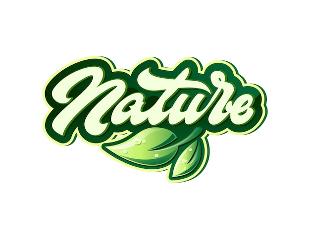 Etykieta Natury W Stylu Napisu Premium Wektorów