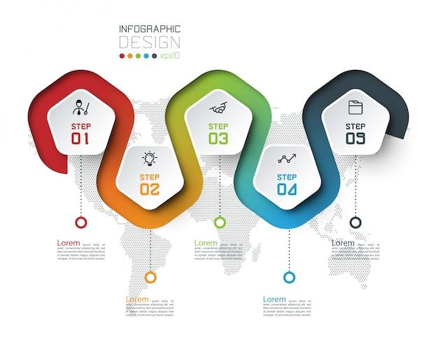 Etykieta pentagon z kolorową linią infografiki. Premium Wektorów
