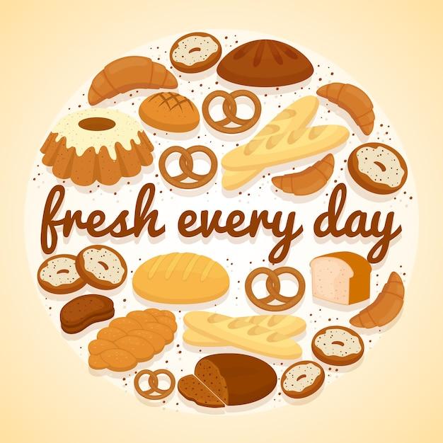 Etykieta Piekarnicza Fresh Every Day Z Okrągłym Wzorem Przedstawiającym Bułeczki, Pączki, Bochenki Różnych Rodzajów Chleba Darmowych Wektorów