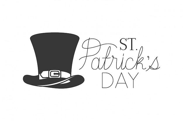 Etykieta St patrick`s day z ikonami kapelusz kobold Premium Wektorów