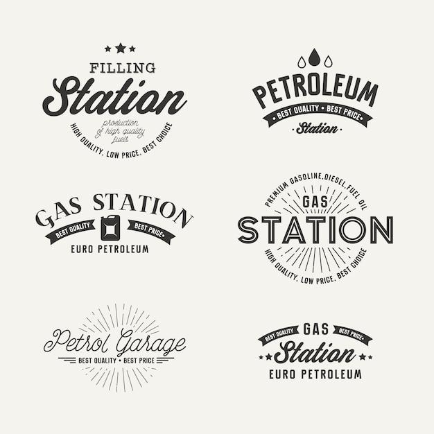 Etykieta Stacji Benzynowej Na Szarym Tle Darmowych Wektorów