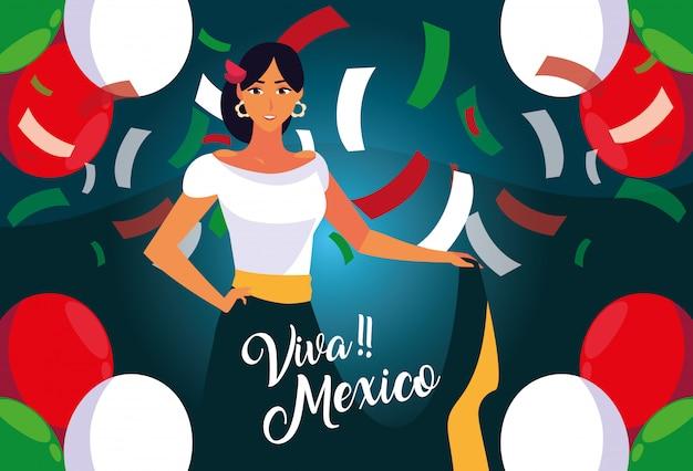Etykieta viva mexico z kobietą w typowym meksykańskim stroju Premium Wektorów