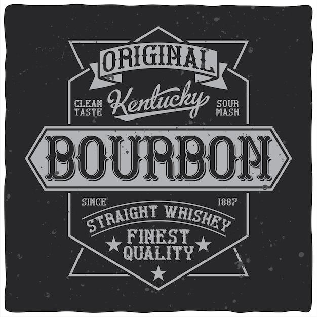 Etykieta Whisky Bourbon W Stylu Vintage Z Edytowalnymi Ozdobnymi Gwiazdami Retro I Wstążkami Darmowych Wektorów