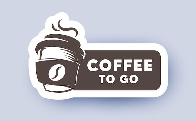 Etykieta Z Logo Kawy Na Wynos Premium Wektorów
