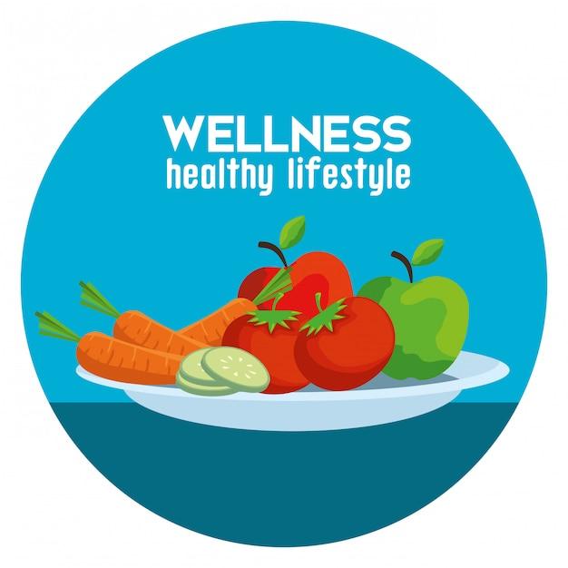 Etykieta ze zdrowymi warzywami i owocami dla zrównoważenia Premium Wektorów
