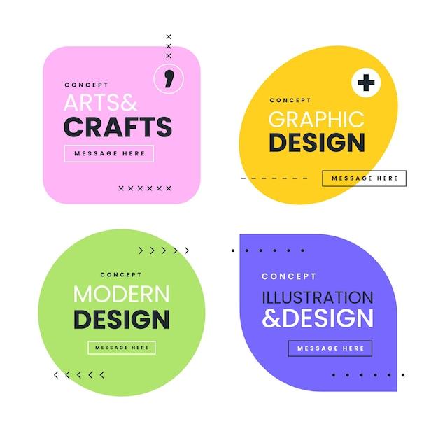Etykiety Graficzne W Stylu Geometrycznym Premium Wektorów