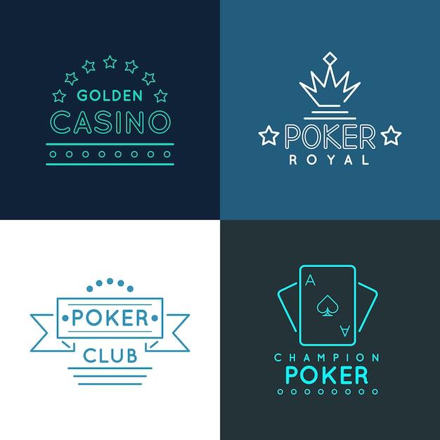 Etykiety I Emblematy Kasyna I Klubu Pokerowego, Logo Ustawione W Liniowym Stylu. Projekt Gry Hazardowej, Baner Królewski Hazard, Ilustracji Wektorowych Darmowych Wektorów