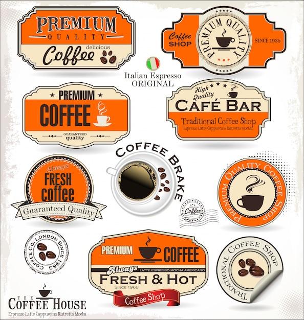 Etykiety i odznaki na kawę Premium Wektorów