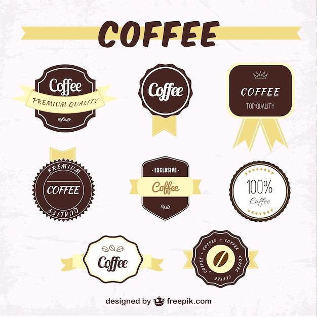 Etykiety kawy pakować Darmowych Wektorów