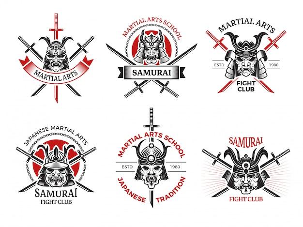 Etykiety maski samuraja. japonia wściekłe twarze na projekty zbroi wojowników tatuaż logo projekty Premium Wektorów