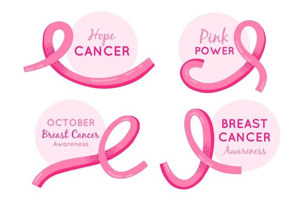 Etykiety Miesiąca świadomości Raka Piersi Darmowych Wektorów