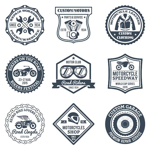 Etykiety motocyklowe czarne Darmowych Wektorów